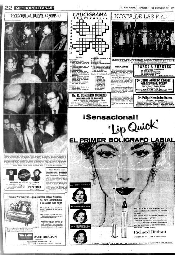 Primer bolígrafo labial. Publicado el 11 de octubre de 1960.