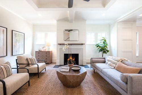 Transitional Living Room Design With White Walls Medium Tone Wood Floors And Brown Floors Decoride Brown Living Room Decor Brown Living Room Chic Living Room