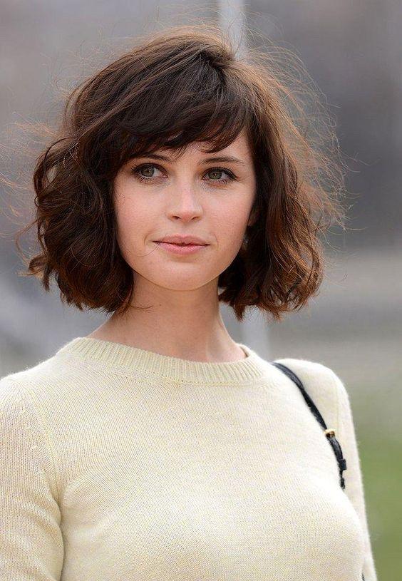 Felicity Jones bangs haircut bob