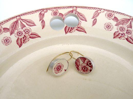 red flower earrings earthenware, silver, 18 ct gold