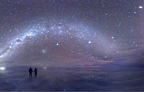 """Salar de Uyuni, Bolivia by night  """"When the night comes, the starry sky reflects on its surface like in a mirror, and you have the feeling of being in space."""""""