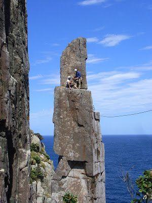 Tasmania - The Totem Pole, a challenging climb.