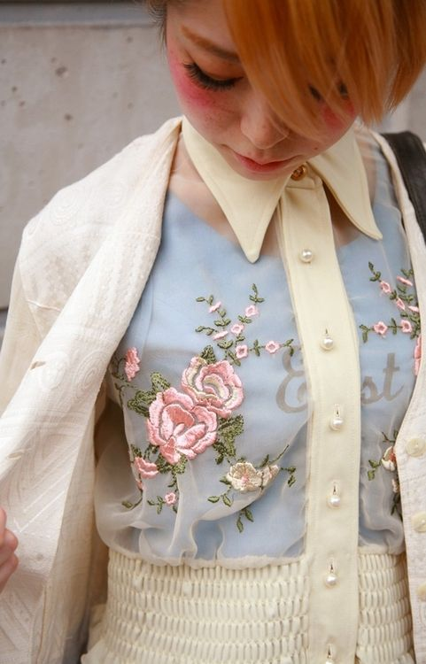 Pretty embroidered sheer blouse x