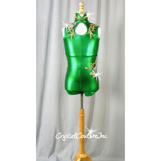 Shimmery Green Leotard with Gold and Silver Appliques - Swarovski Rhinestones…