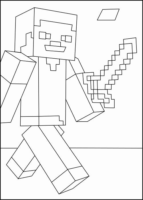 Mine Craft Coloring Page Best Of Minecraft Steve In 2020 Minecraft Coloring Pages Minecraft Steve Coloring Pages
