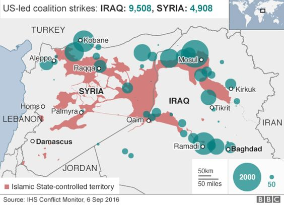 Map of air strikes in Iraq and Syria since August 2014