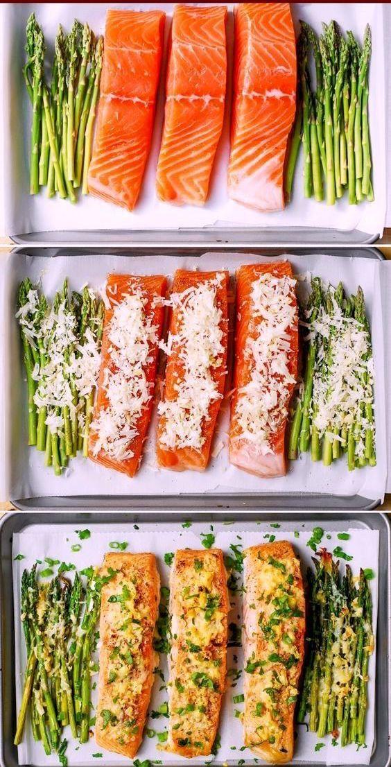 Garlic Parmesan Crusted Salmon and Aspragus