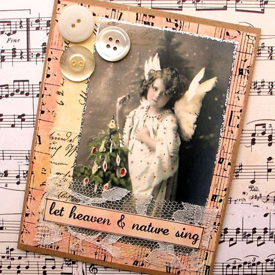 handmade Christmas card Let Heaven and Nature Sing
