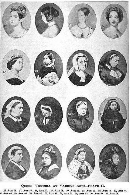 Queen Victoria at Various Ages, you can notice how, after a few slides all she wore was black, meaning it was after the death of Albert, since she never did get over his death...
