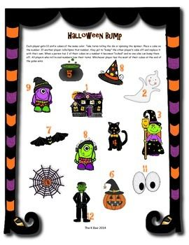 Here's a set of Halloween themed BUMP boards. Includes a board with numbers 1-6 and another for sums from 2-12.