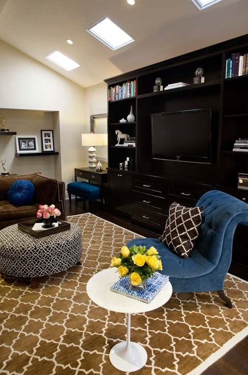 Cobalt Blue Chocolate Brown Living Room Design With