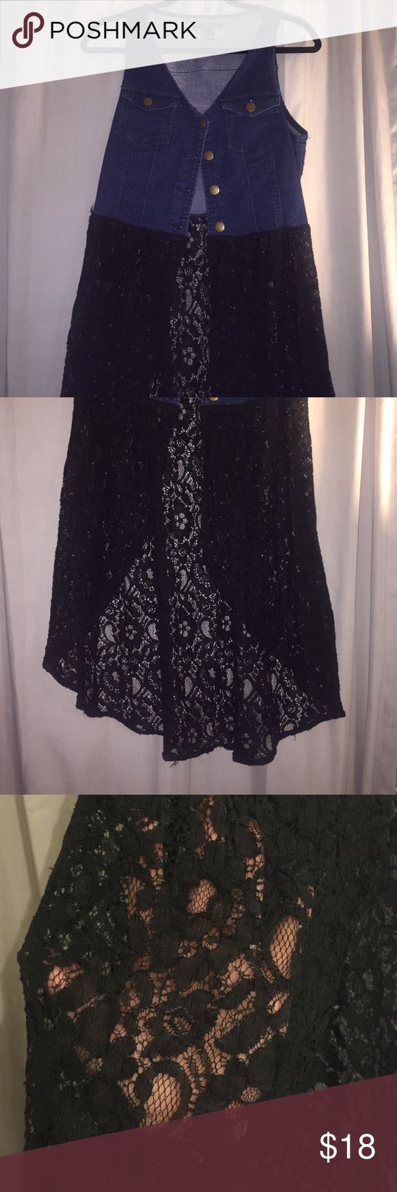 Denim High Low Vest with Lace Hardly worn, in great condition! Forever 21 Other
