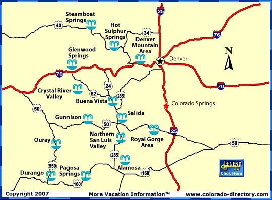 Map of Colorado Hots springs locations Also provides a nice list – Tourist Attractions Map In Denver Colorado