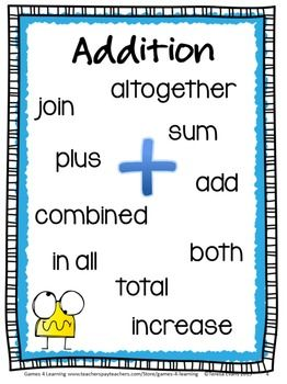Worksheets Addition Words freebie addition and subtraction key word posters cards for sorting by games 4