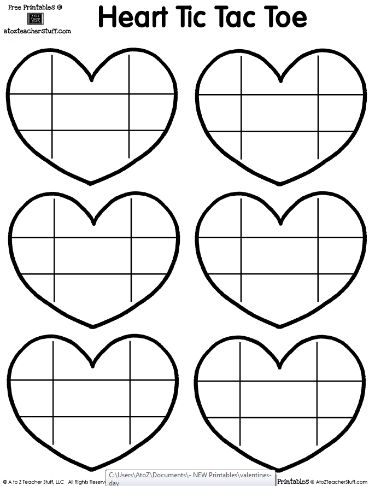 Printable page with heart shaped tic-tac-toe boards teaching