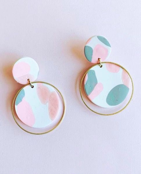 Clay Jewelry Blush and Brass Earrings Clay and Brass Earrings Blush and Brass Circle Drops | Polymer Clay Earrings