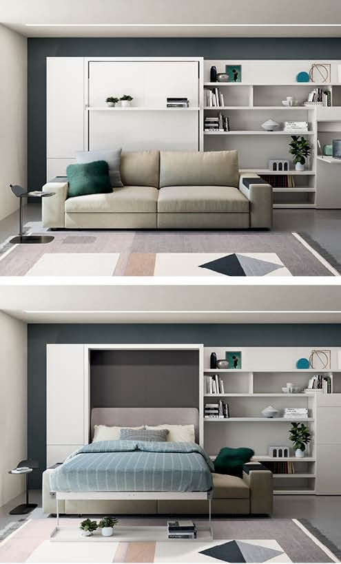 Make More Space With A Queen Size Murphy Bed Convert Your Living Room Into A Guest Room Space Saving Furniture Bedroom Built In Sofa Resource Furniture Murphy bed in living room