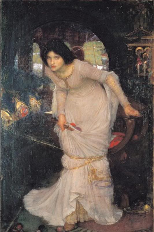"""John William Waterhouse: The Lady of Shalott Looking at Lancelot 1894  Oil on canvas. Leeds City Art Gallery - Leeds, England  Actual Size (W x H): 86cm x 142cm = 33.88"""" x 55.95"""""""