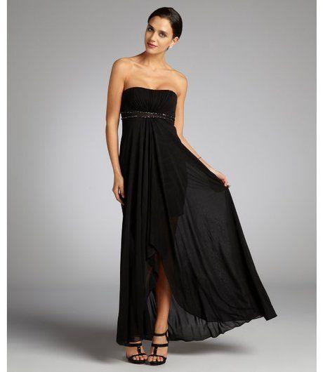 Aidan Mattox Black Black Layered Skirt Strapless Jersey Knit Evening Gown