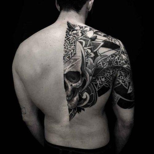 Dotwork Skull Half Back Tattoo Best Tattoo Ideas Gallery Tattoos Tattoos Art Photos Tattoo Designs Back Tattoos For Guys Back Tattoo Tattoos For Guys