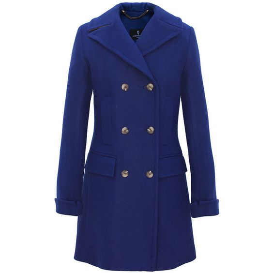 Milan Coat ❤ liked on Polyvore featuring outerwear, coats, blue coat, double-breasted coat, pleated coat and blue double breasted coat