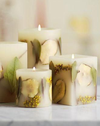 Embossed Flower Pillar candles