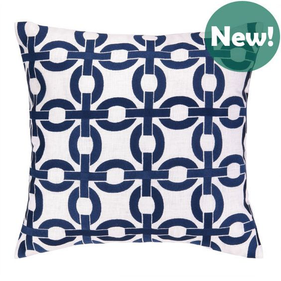 Links Pillow - Navy #blue #embroidered-collection