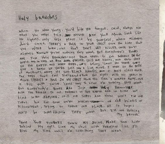"Radical Face- ""Holy Branches"" Lyrics, handwritten by Ben"