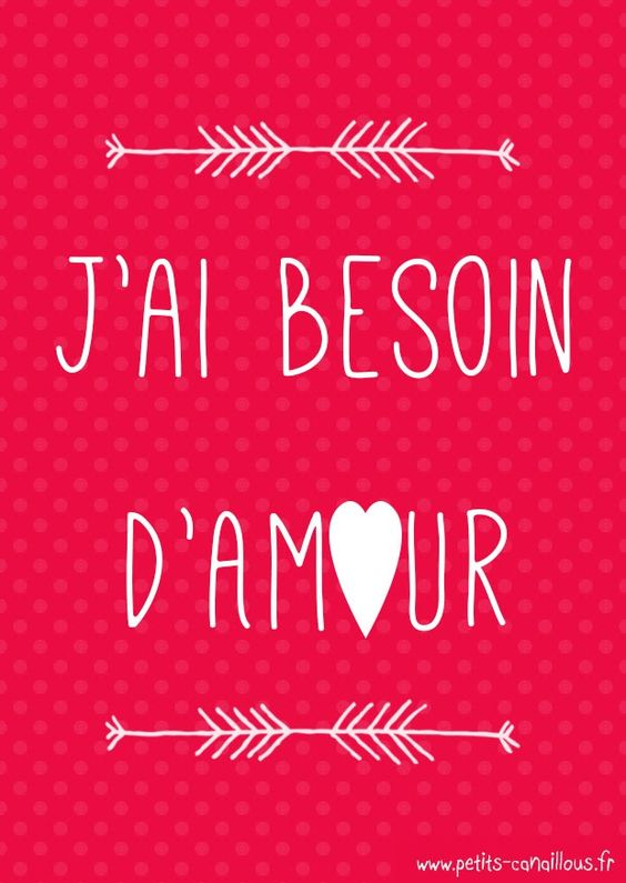 Carte de saint valentin à imprimer [gratuit] j'ai besoin d'amour par petits-canaillous.fr  Free printable