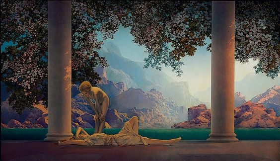 """""""Daybreak,"""" Maxfield Parrish, 1922, oil on board, 26½ x 45, National Museum of American Illustration, Newport, RI. Daybreak was to be his first work commissioned solely for the purpose of reproduction as a color lithographic print to be distributed to the American public and would become one of the most reproduced paintings in American history. It was estimated that one of every four households had a copy of the work, making it a national sensation and cultural phenomenon.:"""