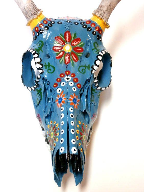 Hand Painted Deer Skull with Teeth and by MidnightandMagnolias, $165.00
