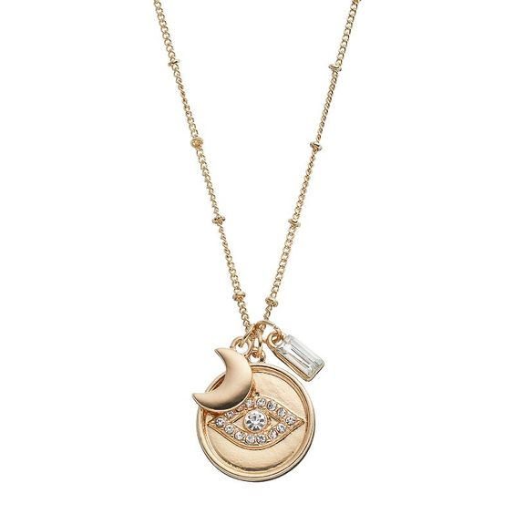 Long Evil Eye & Crescent Charm Necklace, Gold