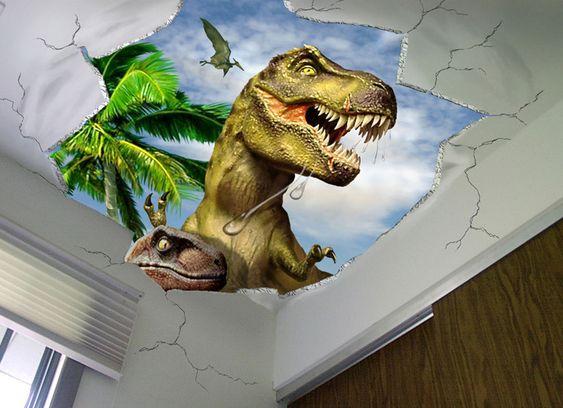 Dinosaur wall mural by dennis franzen illustrations for Dinosaur wall mural