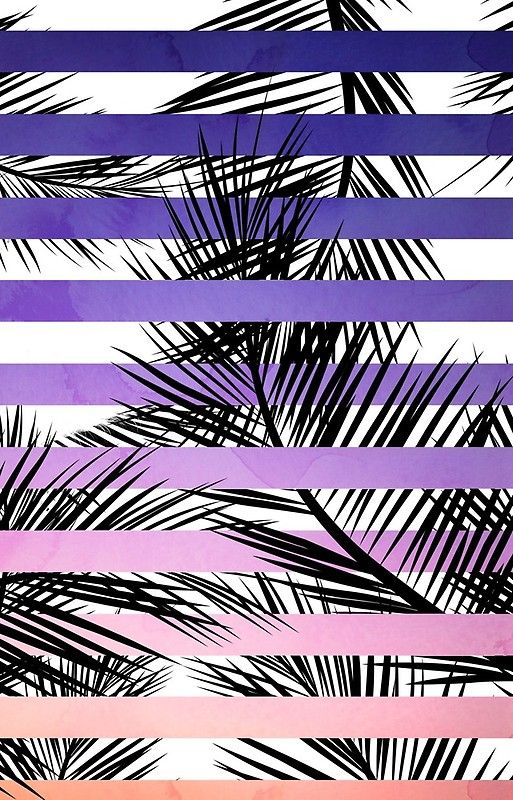 Watercolor Summer Sunset Ombre Stripes Tropical Palm Tree Iphone