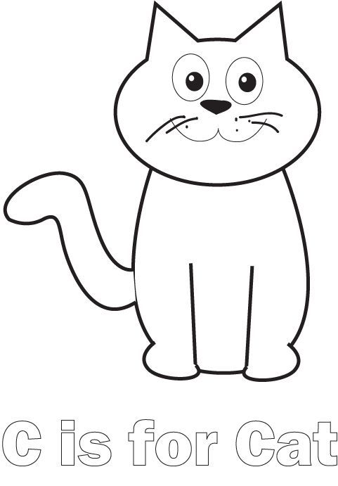 C Is For Cat Coloring Pages Cat Crafts Preschool C Is For Cat