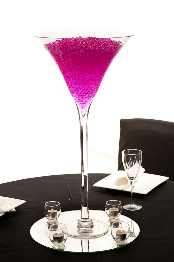 Tall martini vase centerpiece wedding