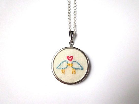 Valentine's Day Gift  Embroidered Necklace  by natalierwoodJewelry, $35.00