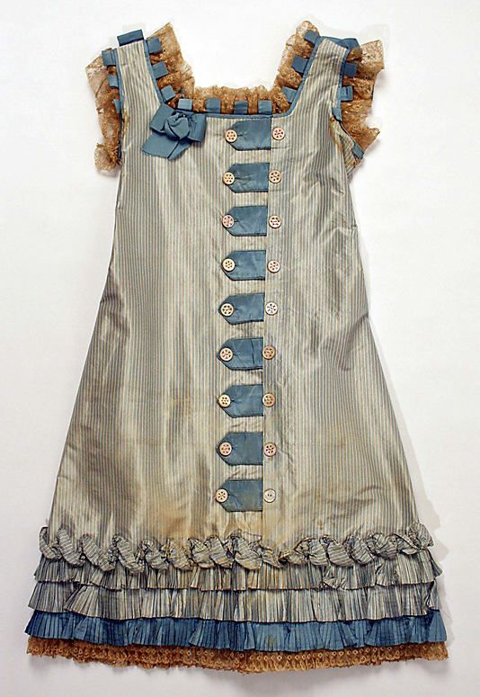 Child's Dress, late 1870s American (probably), silk, cotton, mother-of-pearl   Dimensions: Length at CB: 29 in.   MMA