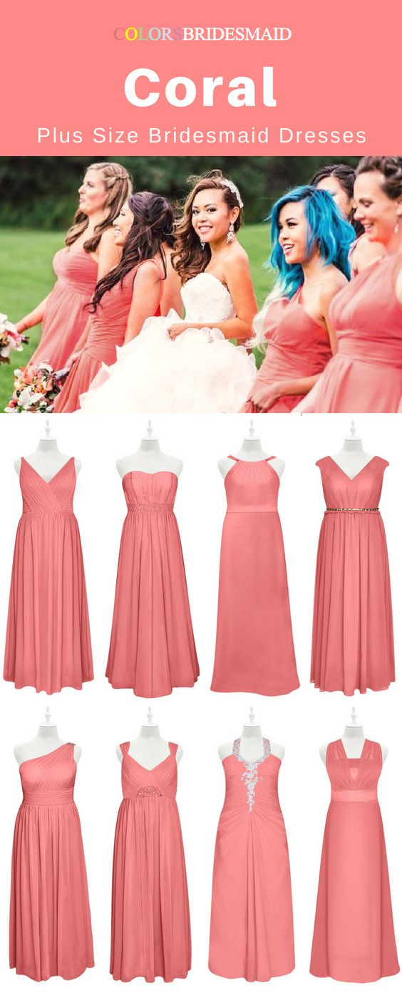 The Best 8 Coral Plus Size Bridesmaid Dresses In Floor Length Sale Now Bridesmaid Dresses Plus Size Curvy Bridesmaid Dresses Bridesmaid Dresses