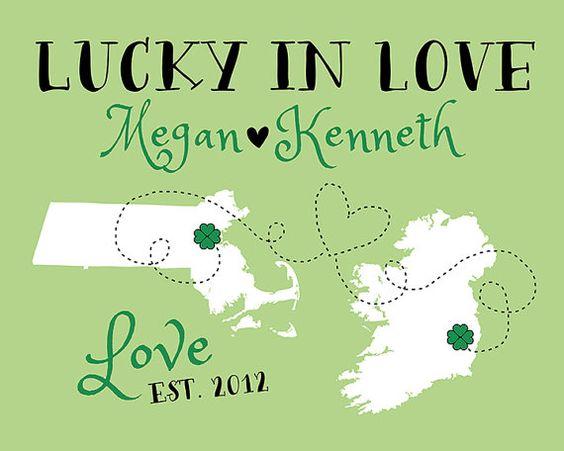 Lucky in Love, Long Distance Relationship Map -  Custom Art, Ireland, Boston, Gift for Boyfriend, Husband, Irish, Celtic, Dublin