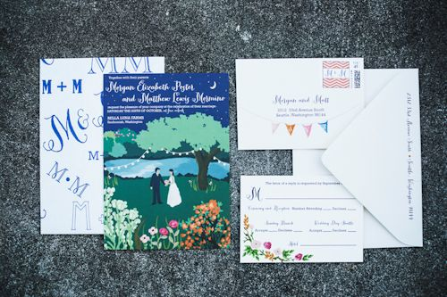 Creative and fun invitations by Paper Moxie for wedding at Bella Luna Farms, photos by Michele M Waite Photography | junebugweddings.com