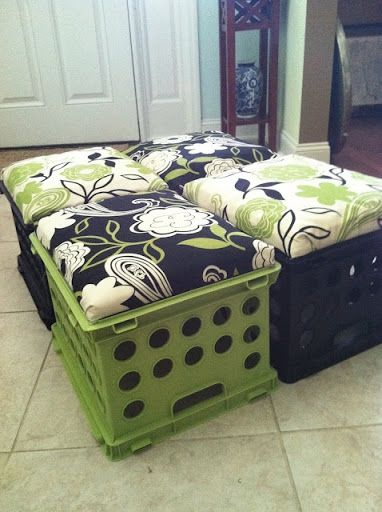 milk crate stools  these would be great for the boys room! Use as ottoman or extra seating.