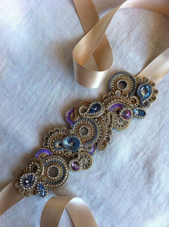 Soutache embroidery headband.: