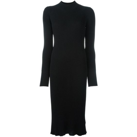 Maison Margiela Ribbed Sweater Dress (975 AUD) ❤ liked on Polyvore featuring dresses, black, slimming dresses, long sleeve knee length dress, longsleeve dress, rib dress and long-sleeve sweater dresses