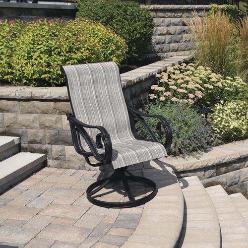 Backyard Creations Boulder Creek Swivel Rocker Dining Patio Chair Stripe 2 Pack Patio Patio Chairs Backyard Creations
