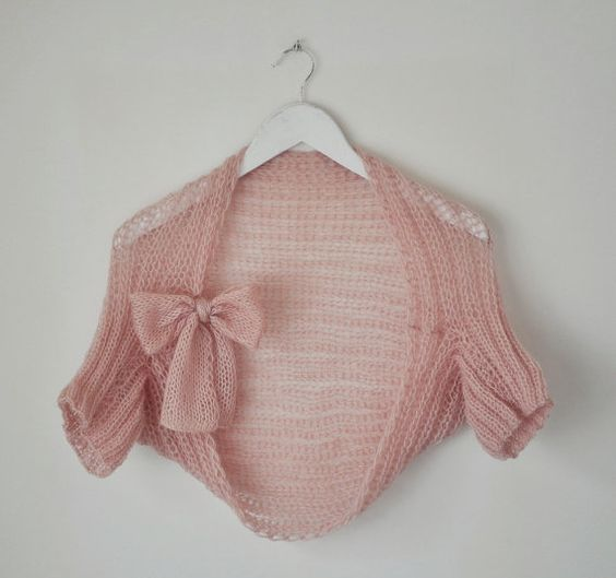 Pale Pink Handknitted Shrug by elde on Etsy, $55.00