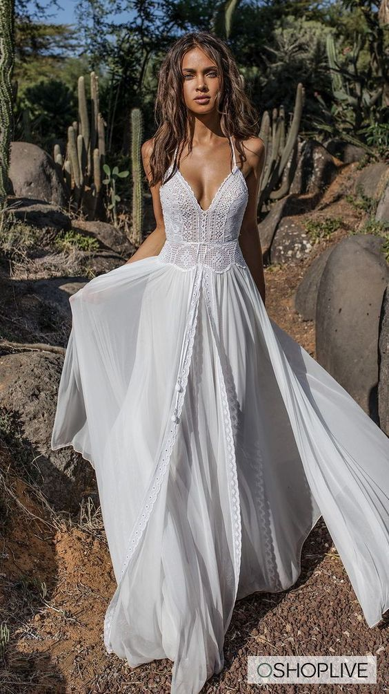 Lace V Neck Flared Backless Two Pieces Maxi Dress Ethereal Wedding Dress Hippie Bride A Line Wedding Dress