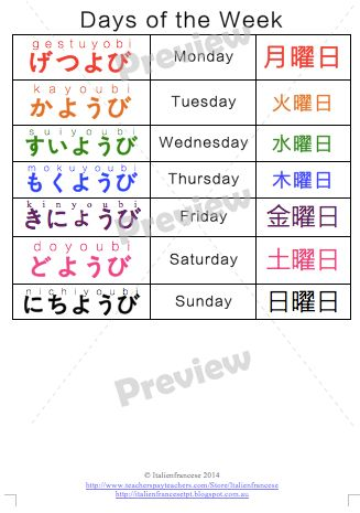 Bundle of 6 Japanese products NEW PRICE Each product in this bundle is available for sale individually: Seasons in Japanese Colours in Japanese Days of the Week in Japanese 10 chart in Japanese Head and shoulder song in Japanese Created by Italienfrancese