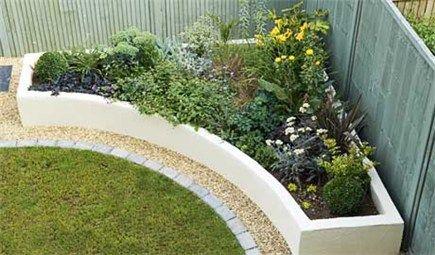 clean and modern corner raised garden bed