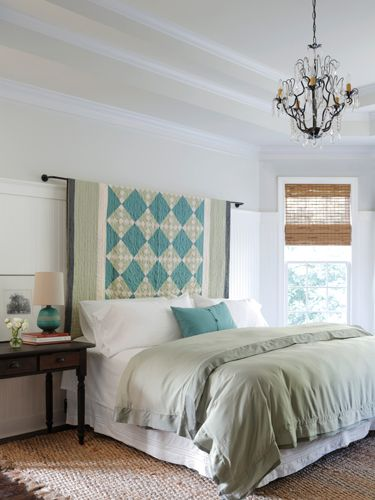 A little bit of sewing know-how and an old quilt is all your need to create a country headboard.